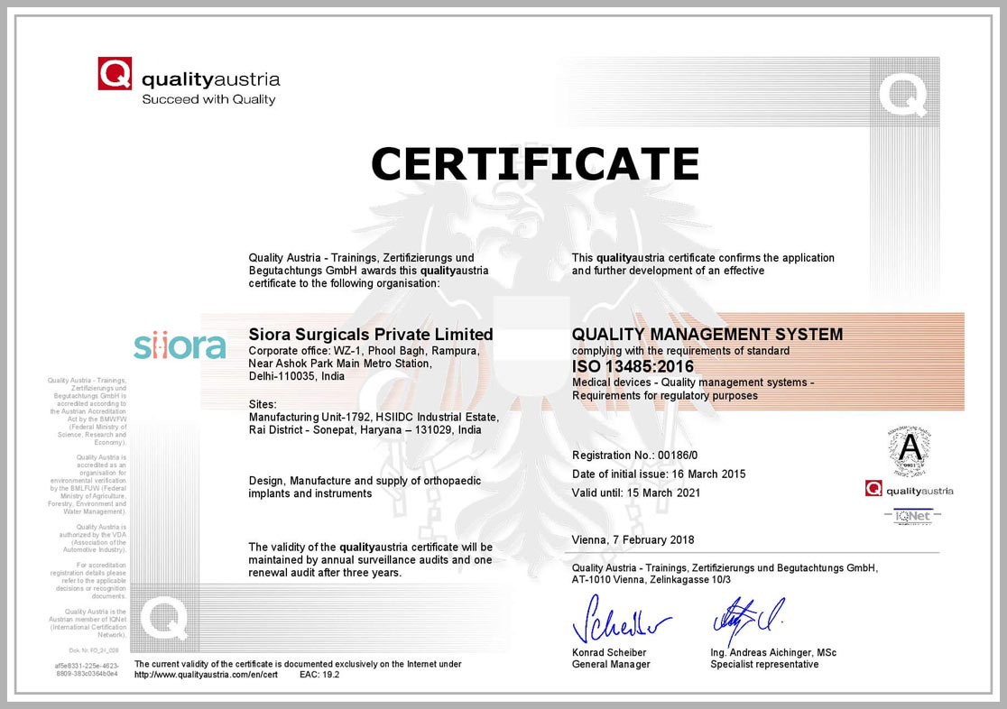 Certificate ISO 13485:2016